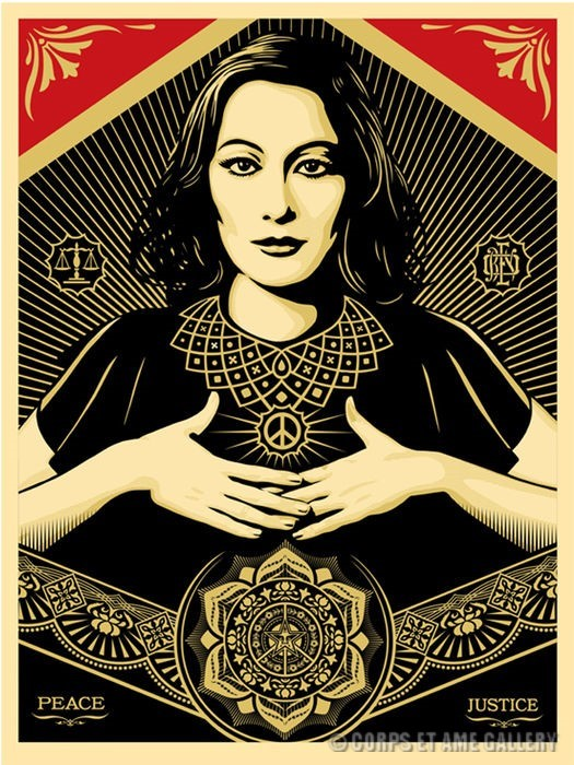 peace and justice woman, achat serigraphie shepard fairey obey